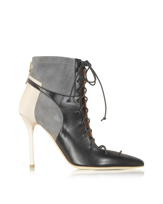 Malone Souliers | Black Color Block Nappa Leather And Stretch Suede Montana Bootie | Lyst