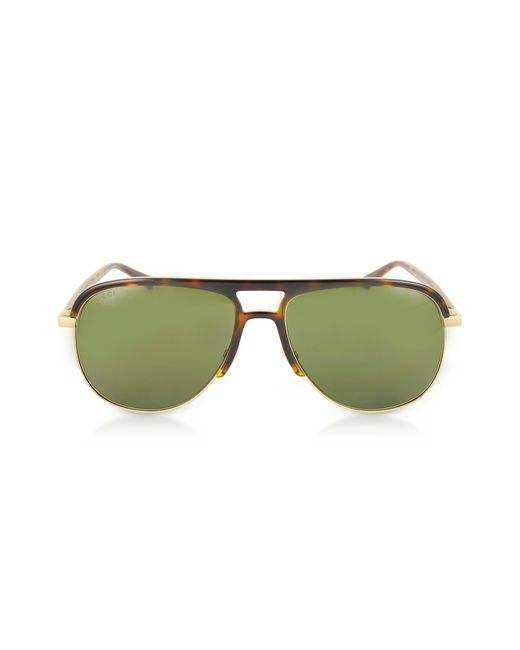 aa4d2aa43ad Gucci - Green GG0292S Metal And Acetate Frame Aviator Sunglasses for Men -  Lyst