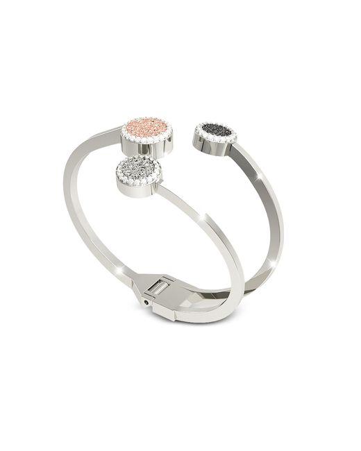 Rebecca - Metallic R-zero Rhodium Over Bronze Cuff Bracelet W/three Tones Stones - Lyst