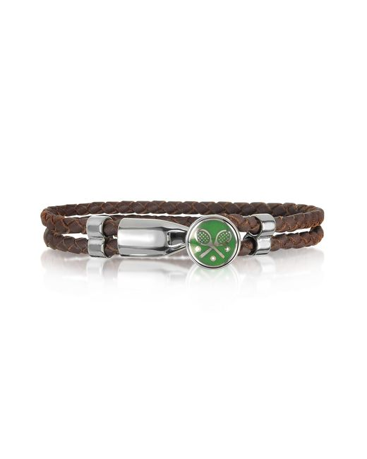 Forzieri - Green Tennis Rackets Metal And Leather Men's Bracelet for Men - Lyst