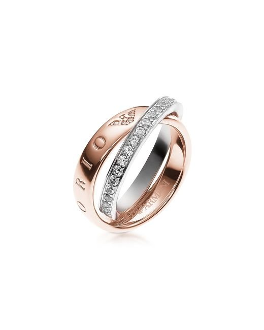 Emporio Armani - Pink Heritage Rose Goldtone Double Ring W/crystals - Lyst