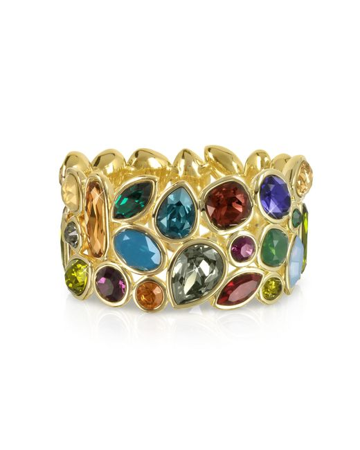Forzieri - Metallic Multicolor Crystal And Metal Bangle - Lyst