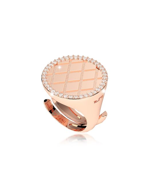 Rebecca | Pink Melrose Rose Gold Over Bronze Ring W/cubic Zirconia | Lyst