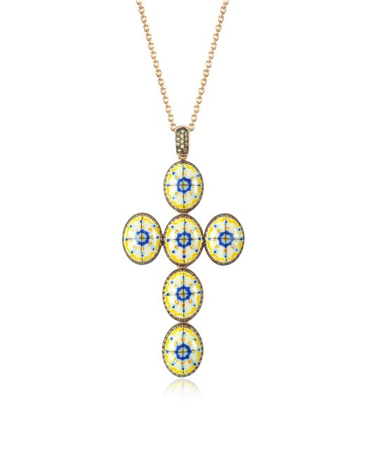 Azhar - Metallic Capri Silver Zircon And Enamel Cross Necklace - Lyst