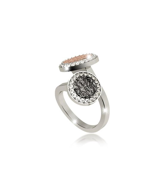 Rebecca - Metallic R-zero Rhodium Over Bronze Ring W/two Tones Stones - Lyst