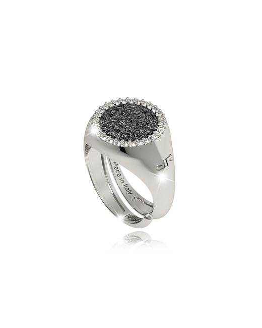 Rebecca | Black R-zero Rhodium Over Bronze Ring W/stones | Lyst