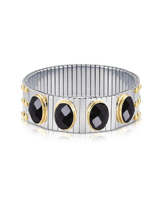 Nomination - Metallic Four Black Cubic Zirconia Stainless Steel W/golden Studs Women's Bracelet - Lyst