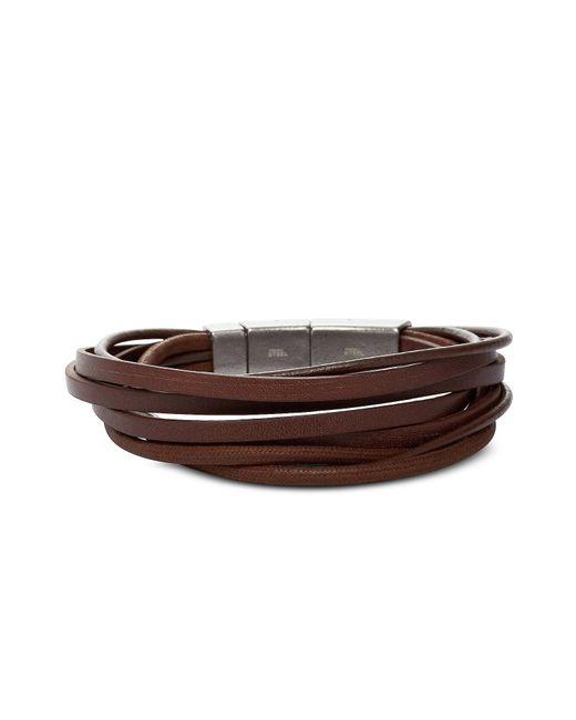 Fossil - Multi Wrap Brown Men's Bracelet for Men - Lyst