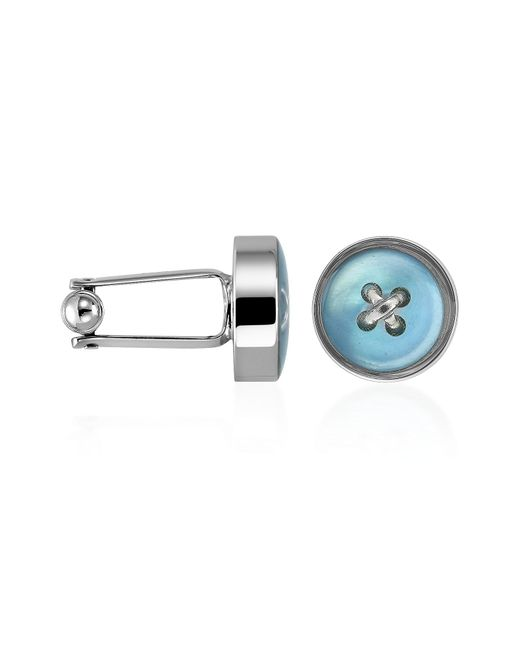 Forzieri - Blue Button Mother-of-pearl Silver Plated Cufflinks for Men - Lyst