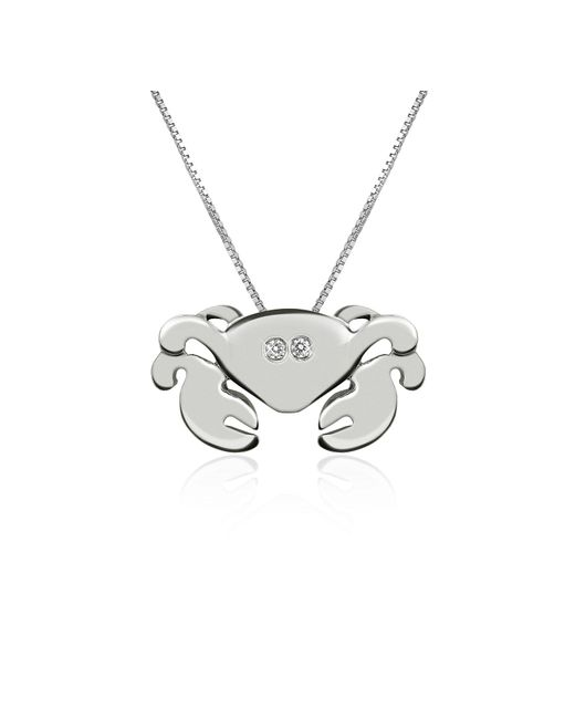 Forzieri - White Diamond 18k Gold Crab Pendant Necklace - Lyst