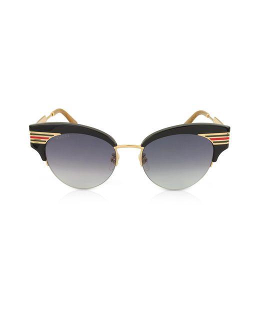 20eca62bd14 Gucci - GG0283S Cat Eye Black Acetate Sunglasses W sylvie Web Temples - Lyst