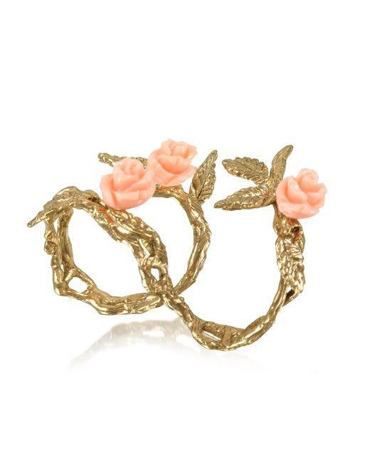 Bernard Delettrez - Metallic Two Fingers Leafy Bronze Ring W/3 Pink Resin Roses - Lyst