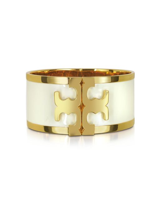 Tory Burch | White Brass And New Ivory Enamel Raised Logo Wide Cuff Bracelet | Lyst