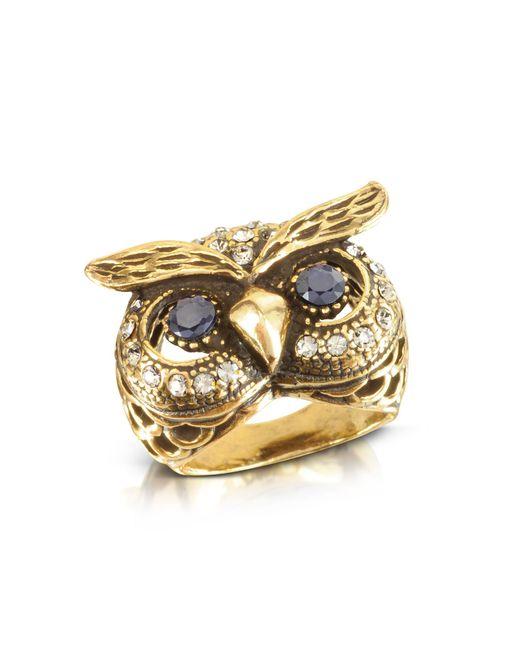Alcozer & J - Metallic Owl Brass Ring - Lyst
