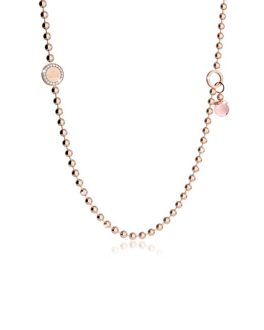 Rebecca - Pink Boulevard Stone Rose Gold Over Bronze Necklace W/double Charms - Lyst