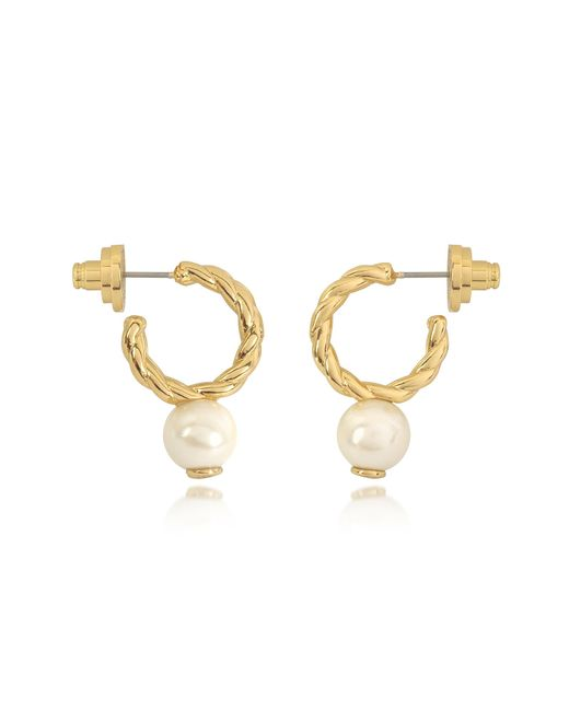 Tory Burch - Metallic Ivory And Tory Gold Small Rope Pearl Hoop Earrings - Lyst