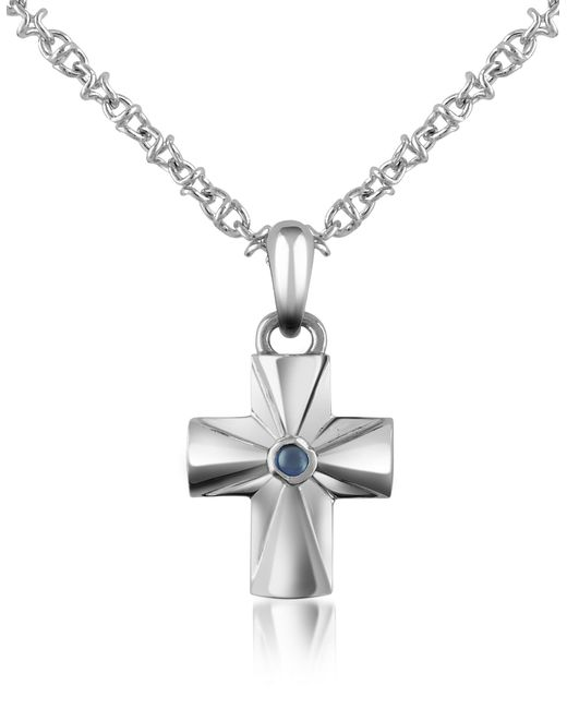 Forzieri - Metallic Central Sapphire Stainless Steel Cross Pendant Necklace for Men - Lyst