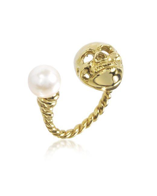 Bernard Delettrez - Metallic Bronze Skull Ring W/pearl - Lyst