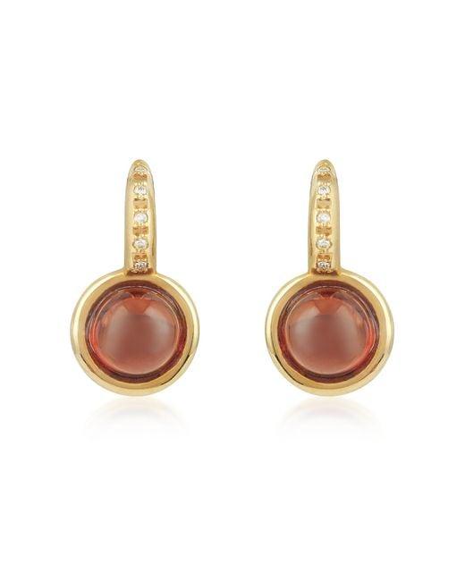 Mia & Beverly - Metallic Garnet And Diamond 18k Rose Gold Earrings - Lyst