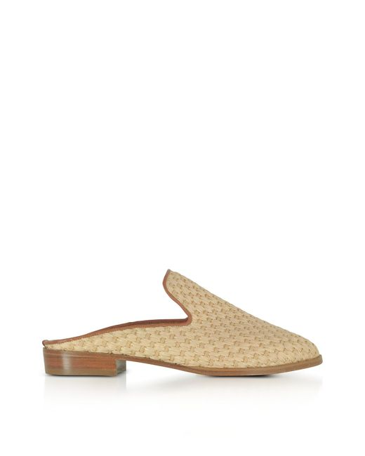 Robert Clergerie - Aliceop Natural Woven Raffia And Terracotta Brown Leather Flat Mules - Lyst