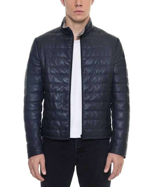 Forzieri - Dark Blue Quilted Leather Men's Jacket for Men - Lyst