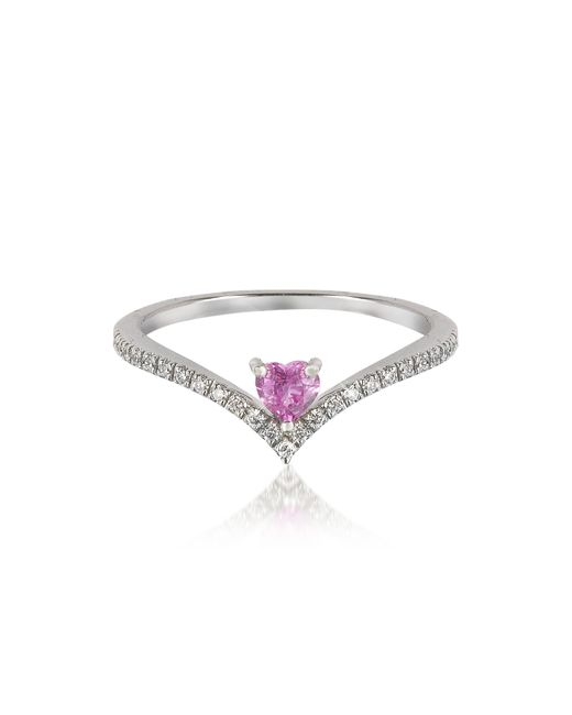 Forzieri | V-shaped Diamonds Band Ring With Enclosed Pink Natural Sapphire Heart | Lyst