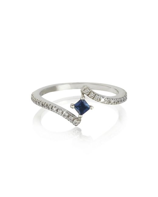 Forzieri - Blue Squared Natural Sapphire 18k White Gold Ring - Lyst