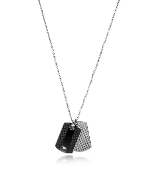 Emporio Armani | Metallic Iconic Black And Silver Stainless Steel Charm Men's Necklace | Lyst