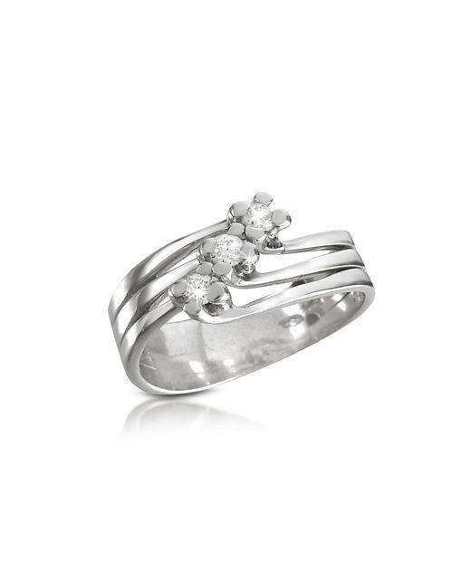 Forzieri - White 0.12 Ct Three-stone Diamond 18k Gold Ring - Lyst