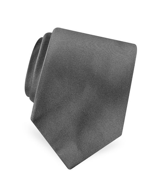 Forzieri - Gray Solid Pure Silk Satin Silk Tie for Men - Lyst