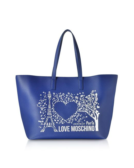 Love Moschino - Blue Printed City Lovers Tote Bag - Lyst ... 37197781ff