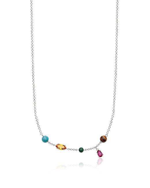 Thomas Sabo Metallic Sterling Silver Riviera Colours Necklace W/ceramic Stones