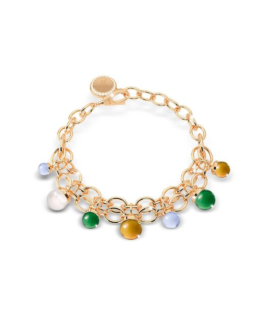 Rebecca - Metallic Hollywood Stone Yellow Gold Over Bronze Chains Bracelet W/hidrothermal Stones - Lyst