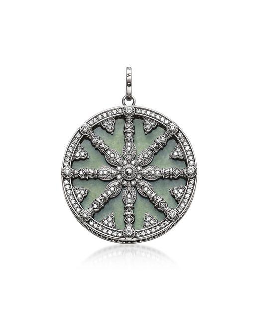 Thomas Sabo - Metallic Blackened Sterling Silver Pendant W/white Cubic Zirconia And Green Aventurine - Lyst