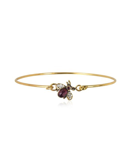 Alcozer & J - Metallic Brass And Crystals Moschina Bangle - Lyst