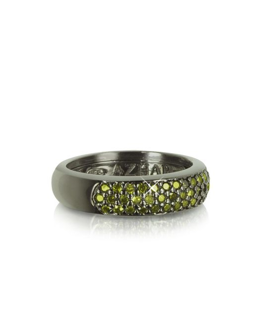 Azhar - Black Olive Green Cubic Zirconia And Sterling Silver Ring - Lyst