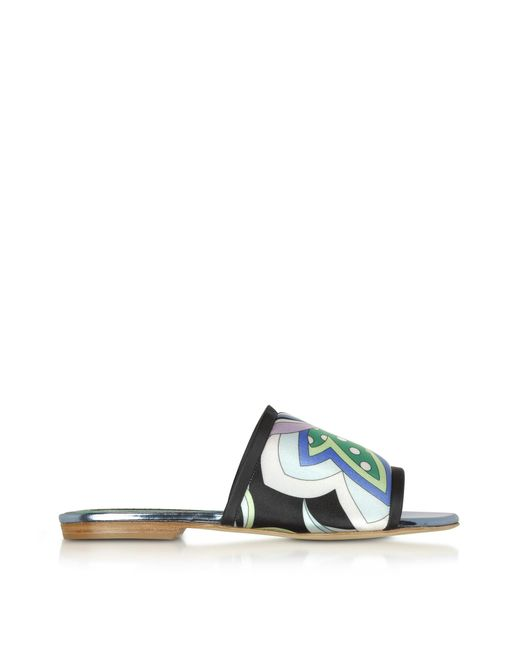 Emilio Pucci - Blue Cornflower Printed Canvas And Leather Flat Slide Sandals - Lyst
