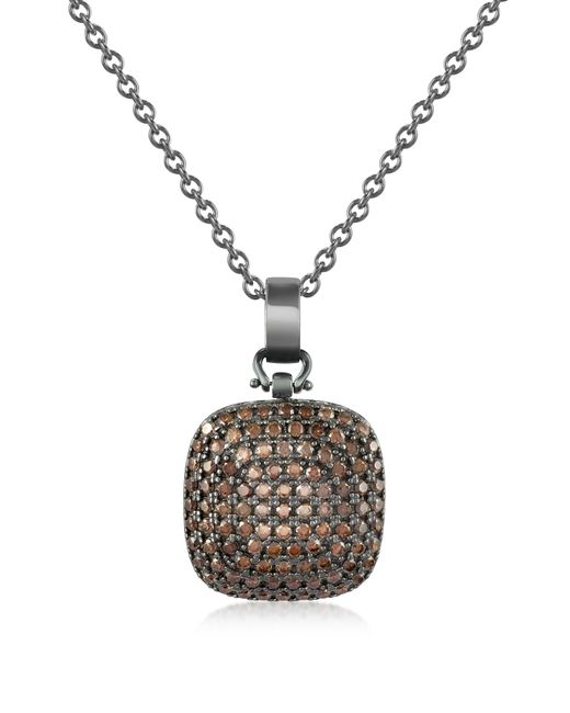 Azhar - Black Cubic Zirconia And Sterling Silver Square Pendant Necklace - Lyst