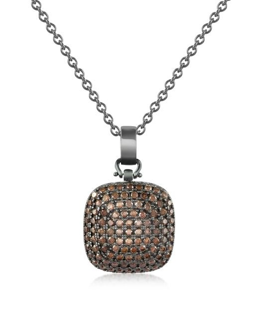 Azhar | Black Cubic Zirconia And Sterling Silver Square Pendant Necklace | Lyst
