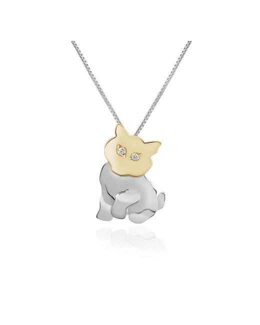 Forzieri - White Diamond & 18k Gold Cat Pendant Necklace - Lyst