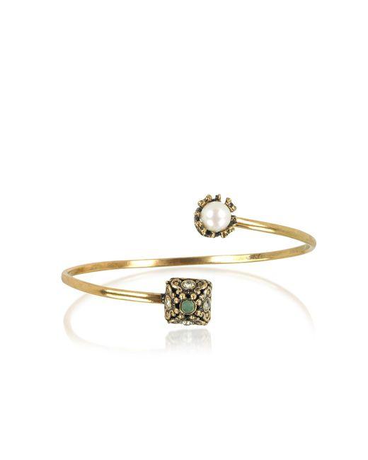 Alcozer & J - Metallic Pyramid And Pearl Bracelet W/gemstones - Lyst