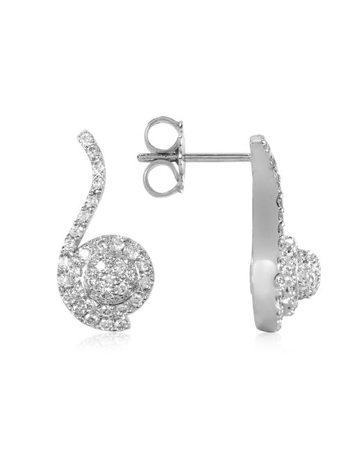 Forzieri | 0.68 Ctw Diamond Pave 18k White Gold Earrings | Lyst