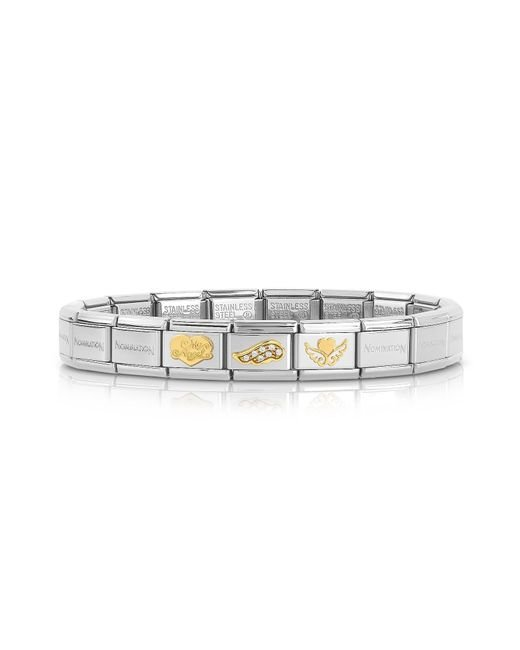 Nomination - Metallic My Angel Golden Stainless Steel Bracelet W/cubic Zirconia - Lyst