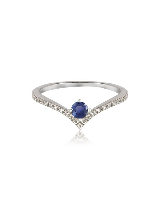 Forzieri | Blue V-shaped Diamonds Band Ring With Natural Round Sapphire | Lyst