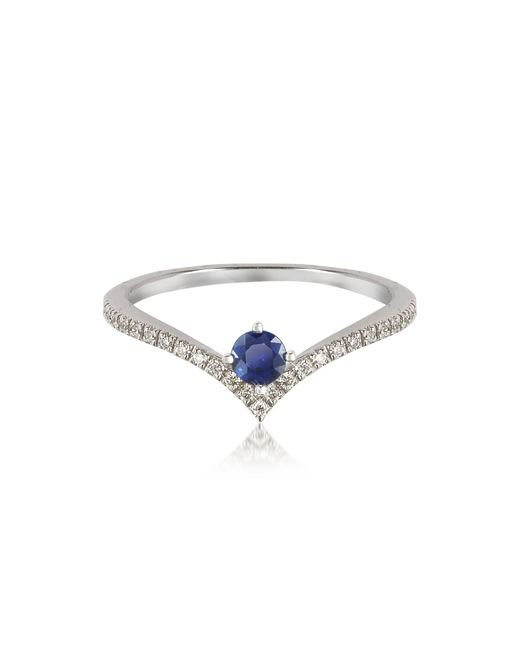 Forzieri - Blue V-shaped Diamonds Band Ring With Natural Round Sapphire - Lyst