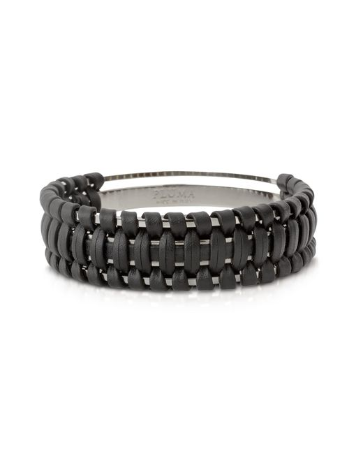 Pluma - Black Brass And Woven Leather Small Cuff In Fumoso - Lyst