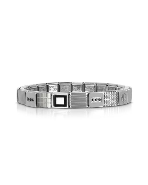 Nomination - Metallic Steel Ikons Geometric Stainless Steel Bracelet W/black Enamel And Cubic Zirconia for Men - Lyst