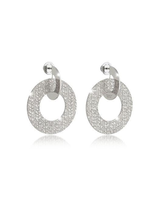 Rebecca - Metallic R-zero Rhodium Over Bronze Drop Hoop Earrings - Lyst