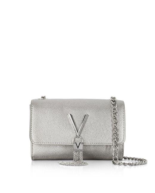 Valentino By Mario Valentino - Metallic Laminated Lizard Embossed Eco Leather Divina Mini Shoulder Bag - Lyst