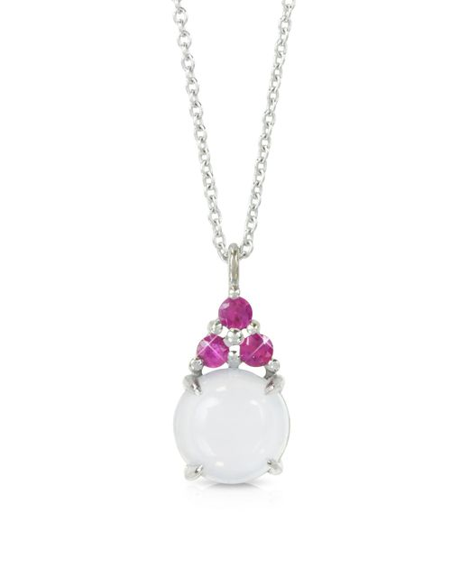 Mia & Beverly - Blue Chalcedony And Pink Sapphires 18k White Gold Pendant Necklace - Lyst